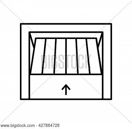 Tilt Up Canopy Garage Door. Black & White Vector Illustration. Line Icon Of Warehouse Gate. Symbol F
