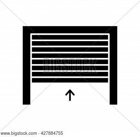 Rolling Up Garage Door. Black & White Vector Illustration. Flat Icon Of Warehouse Gate. Symbol For E