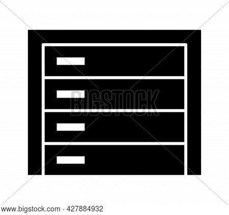 Sectional Garage Door. Black & White Vector Illustration. Flat Icon Of Closed Warehouse Gate. Symbol