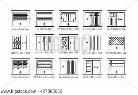Garage Doors Half Opened. Line Icon Vector Set. Different Types Of Warehouse Or Workshop Gates. Exte