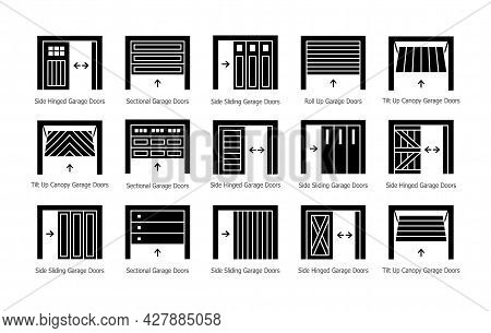 Garage Doors Half Opened. Flat Silhouette Icon Vector Set. Different Types Of Warehouse Or Workshop