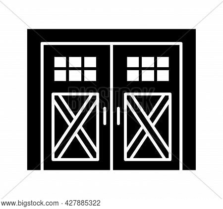 Side Hinged Vintage Garage Door. Black & White Vector Illustration. Flat Icon Of Closed Warehouse Or