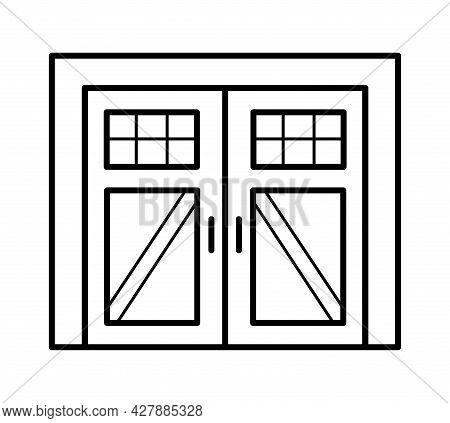 Side Hinged Vintage Garage Door In Rustic Country Style. Black & White Vector Illustration. Line Ico
