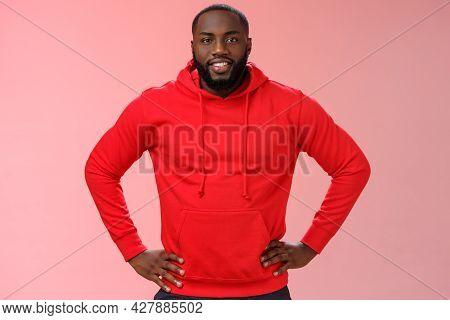 Helpful Attractive Friendly Bearded African-american Boyfriend Wearing Red Hoodie Hold Hands Waist S
