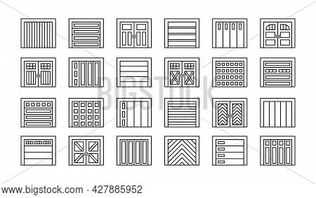 Garage Doors Closed. Line Icon Set. Various Types Of Warehouse Or Workshop Gates. Vector Illustratio