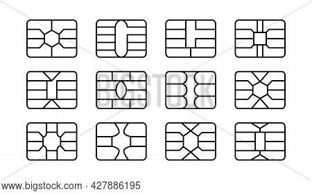 Emv Chip. Credit And Debit Card Elements. Vector Line Icon Set. Smart Card Rectangular Microchips Fo