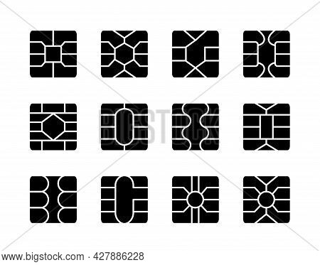 Emv Chip. Credit And Debit Card Elements. Vector Flat Icon Set. Smart Card Square Microchips For Ter