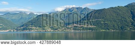 View From Colico Towards The Opposite Side Of Lago Di Como With Mountains