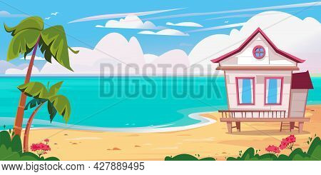 Beach And Sea, Beach White Bungalow House And Palm Trees. Vector Illustration Of A Hotel By The Ocea