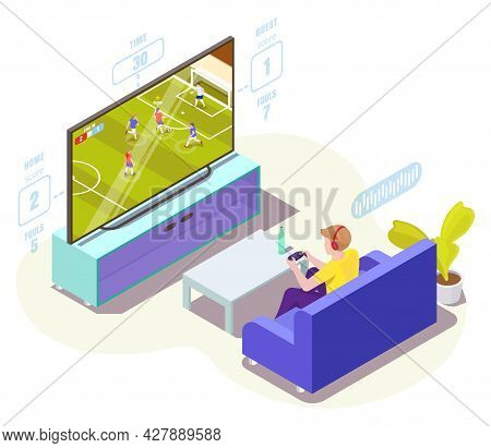 Man Gamer In Headphones Playing Soccer Video Game On Tv, Vector Isometric Illustration. Online Footb