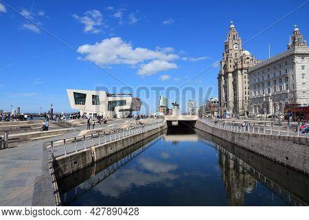 Liverpool, Uk - April 20, 2013: People Visit Pier Head Area In Liverpool, Uk. Pier Head Is Part Of L
