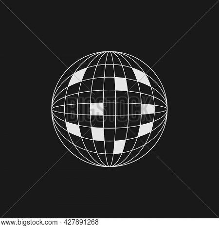 Retrofuturistic Wireframe Planet With Sectors. Digital Cyber Retro Design Element. Planet In Cyberpu