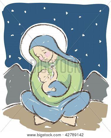 Virgen y niño ilustración
