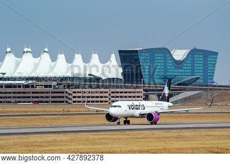 Denver, Usa-october 17: Airbus A320 Operated By Volaris Taxis On October 17, 2020 At Denver Internat