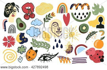 Trendy Doodle Abstract Nature Icons Isolated On White Background. Contemporary Hand Drawn Geometric