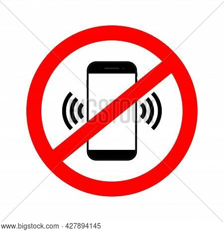 Phone Off. Mobile Ban. Icon Of Forbidden Cellphone. Red Sign Of Off Use And Call Phone. Symbol Of Pr