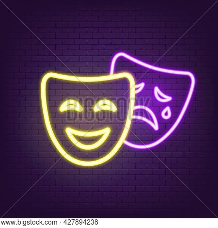 Theatre Icon Neon. Comedy And Tragedy Masks Icon Neon. Happy And Unhappy Traditional Symbol Of Theat