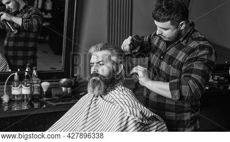 Guy With Long Dyed Blond Hair Close Up. Do Not Cut Your Own Hair. Hipster Client Getting Haircut. Ba