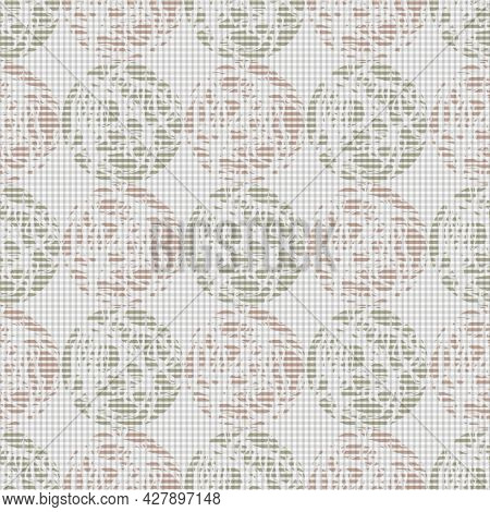 Marble On Linen Effect Circles Vector Seamless Pattern Background. Geometric Grid Of Marbling Stenci