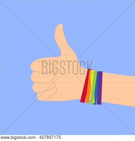 Hand Gesturing Like With Raised Big Finger With Rainbow Colored Lgbtq Bracelets On Blue Background I