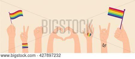 Collection Of Lgbtq Hands Community Symbols Clipart Isolated. Hands With Flags, Concept Of Lgbt Peop