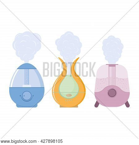 Air Humidifier Device For Home, Color Isolated Vector Illustration.