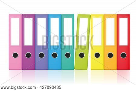 Colored Ring Binders, Colorful Blank Leaf Binder Map Set, Rainbow Colors Collection For Happy Office
