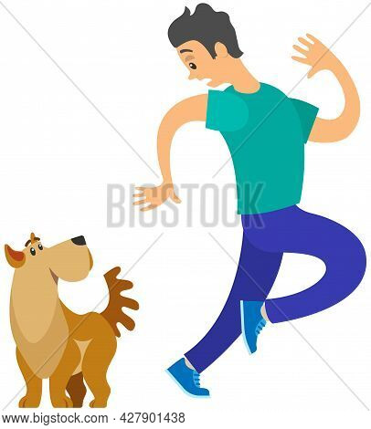 Man Frightened By Dog Suffers From Cynophobia, Human Fear Concept. Person Looking Scared At Dog Is A