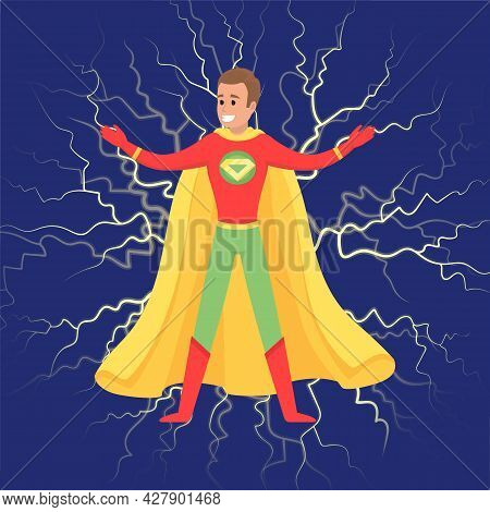 Brave Superhero Smiles, Has Superpowers And Stands Against Dark Background With Lightning. Cartoon S