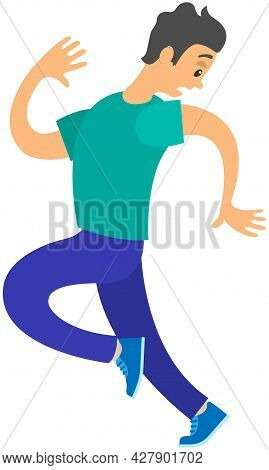Frightened Man Running Away Looking Back. Young Guy With Scared Face Expression. Emotions And Body L