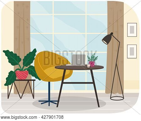 Table With Laptop And Chair In Interior Of Workplace In Apartment. Modern Workplace Interior With Fu