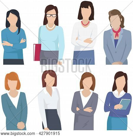 Collection Of Seven Woman Silhouettes, Dressed In Business Style Isolated On White Background. Femal