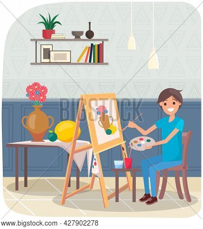 Man Drawing Still Life Picture Of Vase And Fruits. Male Artist With Brushes Holding Palette In Hands