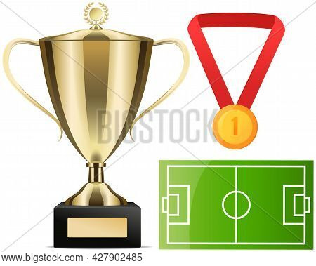Gold Cup Near Football Field Poster Of Sport Game Competition, Championship Cup Banner Template. Foo
