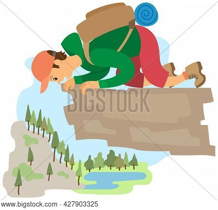 Man Suffering From Fear Of Of Heights. Person Is Scared Of Being On High Rock. Male Character Fearfu