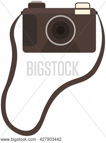 Dslr Photo Camera Vector Design Illustration Isolated On Background With Lens And Flash, Brown Film