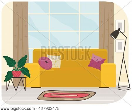 Living Room Interior With Yellow Sofa, Plant And Floor Lamp For Relaxing And Podcasting. Living Room