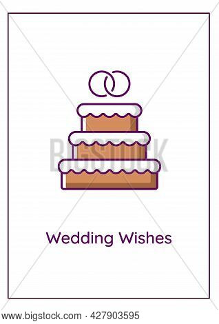 Wedding Wishes Greeting Card With Color Icon Element. Congrats To Newlyweds. Blessing Couple. Postca
