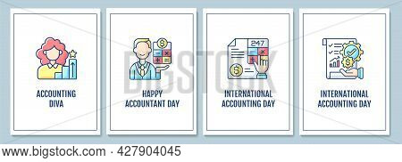 Accounting Profession Promotion Greeting Cards With Color Icon Element Set. Global Holiday. Postcard