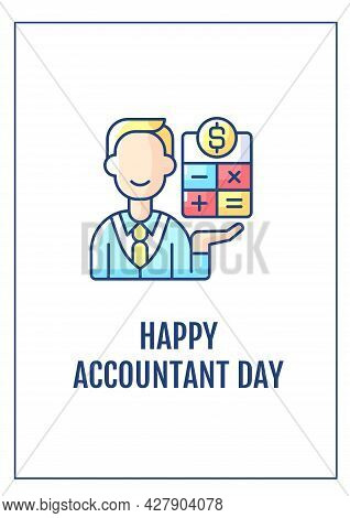 Happy Accountant Day Greeting Card With Color Icon Element. Recognizing Accounting Importance. Postc