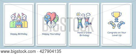 Birthday Celebration Greeting Cards With Color Icon Element Set. Happy Yoursday. Postcard Vector Des