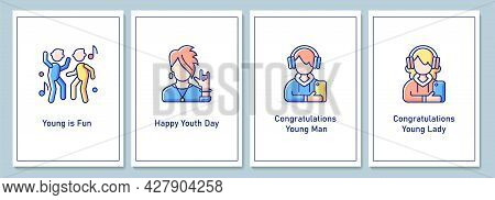 International Youth Day Greeting Cards With Color Icon Element Set. Young Women And Men Role. Postca