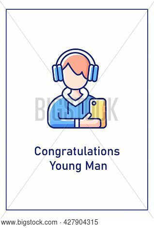 Congratulations Young Man Greeting Card With Color Icon Element. Youth People Engagement. Postcard V