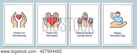 International Volunteers Day Celebration Greeting Cards With Color Icon Element Set. Postcard Vector