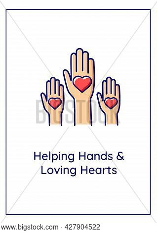 Helping Hands And Loving Hearts Greeting Card With Color Icon Element. Investing Time, Energy. Postc