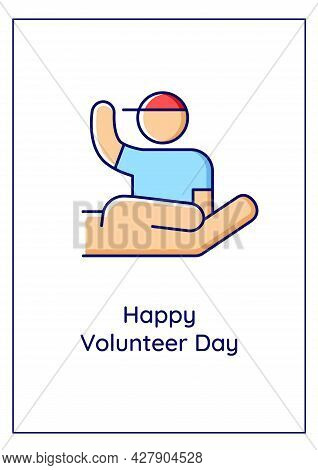 Happy Volunteer Day Greeting Card With Color Icon Element. Help Vulnerable Children. Postcard Vector
