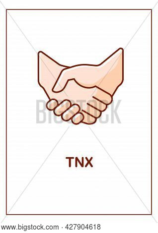 Thanks For Support Friend Greeting Card With Color Icon Element. Shaking Hands. Postcard Vector Desi