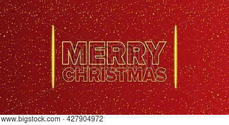 Merry Christmas Horizontal Banner With Neon Greeting Text On Red Christmas Background. Merry Christm