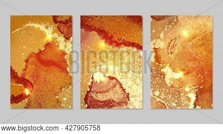Marble Set Of Gold, Yellow And Amber Backgrounds With Texture