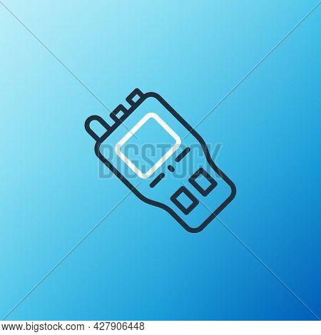 Line Walkie Talkie Icon Isolated On Blue Background. Portable Radio Transmitter Icon. Radio Transcei